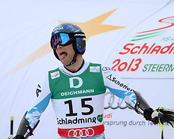 15.02.2013, Planai, Schladming, AUT, FIS Weltmeisterschaften Ski Alpin, Riesenslalom,  Herren, 2. Durchgang, im Bild Benjamin Raich (AUT) // Benjamin Raich of Austria reacts after 2nd run of mens Giant Slalom at the FIS Ski World Championships 2013 at the Planai Course, Schladming, Austria on 2013/02/14. EXPA Pictures © 2013, PhotoCredit: EXPA/ Martin Huber