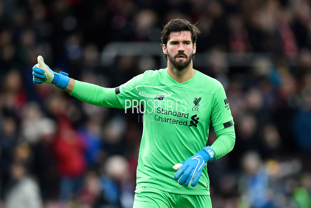 Alisson Becker (1) of Liverpool during the Premier League match between Bournemouth and Liverpool at the Vitality Stadium, Bournemouth, England on 7 December 2019.
