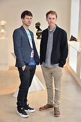 Left to right, NICK HORNBY and ROBERT EMMS at a private view of Bright Young Things held at the David Gill Gallery, 2-4 King Street, London on 19th April 2016.