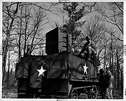 The Ghost Army That Duped The Nazis<br /> <br /> Deception and decoy are part of war strategy. During the Second World War the Allied forces employed dozens of tricks to confuse, mislead or intimidate the German army — from dropping dummy paratroppers to dropping aluminum tinfoil, from faking the death of a fictitious Major William Martin to completely covering up a military aircraft plant. One such deceptive operation that came to light only a few years ago is the so called Ghost Army.<br /> <br /> The Ghost Army was a 1,100-man unit officially known as the 23rd Headquarters Special Troops whose goals were to impersonate vastly large U.S. Army units to deceive the enemy. The men that made up this secretive unit weren't your regular soldiers. They were artists, illustrators and sound technicians handpicked for the job from New York and Philadelphia art schools. They didn't carry M1s and Thompsons, but large inflatable tanks and rubber aircrafts, powerful amplifiers and speakers to mimic the noise created by a large gathering troop and radio equipment to transmit phony messages.<br /> <br /> Photo shows: Sonic half track with 500 pound speaker capable of projecting sound 15 miles.<br /> <br /> The Ghost Army of World War II<br /> How One Top-Secret Unit Deceived the Enemy with Inflatable Tanks, Sound Effects, and Other Audacious Fakery<br /> Rick Beyer and Elizabeth Sayles<br /> Published by Princeton Architectural Press<br /> £25.00<br /> ©Exclusivepix Media
