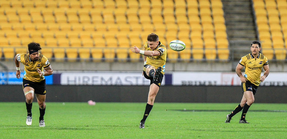Beauden Barrett kicks during the Super rugby (Round 12) match played between Hurricanes  v Lions, at Westpac Stadium, Wellington, New Zealand, on 5 May 2018.  Hurricanes won 28-19.