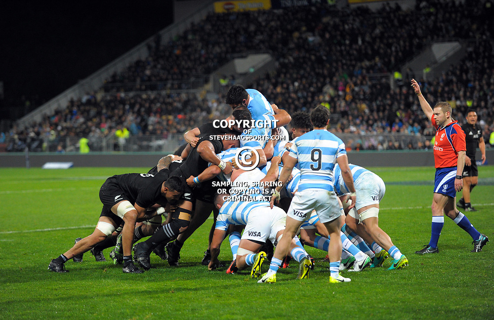 Referee Angus Gardner awards a scrum penalty during the Rugby Championship match between the NZ All Blacks and Argentina Pumas at Yarrow Stadium in New Plymouth, New Zealand on Saturday, 9 September 2017. Photo: Dave Lintott / lintottphoto.co.nz