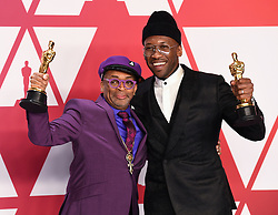 Spike Lee, winner of the Best Adapted Screenplay Award for BlacKkKlansman and Mahershala Ali, winner of Best Supporting Actor for 'Green Book' in the press room at the 91st Academy Awards held at the Dolby Theatre in Hollywood, Los Angeles, USA. Photo credit should read: Doug Peters/EMPICS.