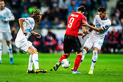 STOJANOVIC Petar of Slovenia vs SABITZER Marcel of Austria during the 2020 UEFA European Championships group G qualifying match between Slovenia and Austria at SRC Stozice on October 13, 2019 in Ljubljana, Slovenia. Photo by Peter Podobnik / Sportida