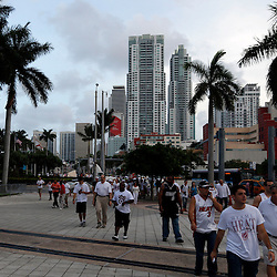 Jun 20, 2013; Miami, FL, USA; Miami Heat fans head to the arena prior to facing the San Antonio Spurs in game seven of the 2013 NBA Finals at American Airlines Arena. Mandatory Credit: Derick E. Hingle-USA TODAY Sports