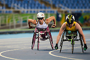 Samantha Kinghorn of Great Britain finishes 5th in the Women's 100m - T53 Final at the Olympic Stadium on day 1 of the Rio 2016 Paralympic Games. Thursday 8th September 2016.