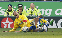 Photo: Steve Bond/Richard Lane Photography. Leicester City v Cardiff City. Coca Cola Championship. 13/03/2010. Jay Bothroyd (L) is fouled by Jack Hobbs