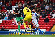Bristol City goalkeeper, Richard O'Donnell (12) saves during the Sky Bet Championship match between Blackburn Rovers and Bristol City at Ewood Park, Blackburn, England on 23 April 2016. Photo by Pete Burns.