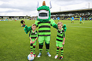 The two mascots with the Green Devil during the Vanarama National League match between Forest Green Rovers and Barrow at the New Lawn, Forest Green, United Kingdom on 1 October 2016. Photo by Shane Healey.