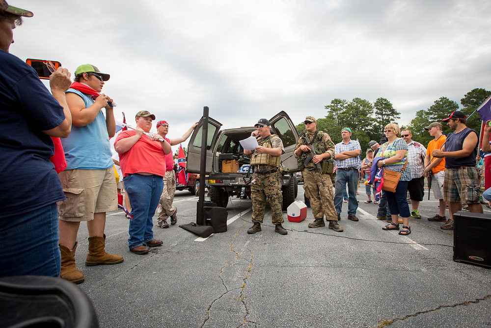 Members of Georgia Security Force III% militia during a Confederate flag rally at Stone Mountain Park in Stone Mountain, Georgia on Saturday, Aug. 1, 2015. Photo by Kevin D. Liles/kevindliles.com