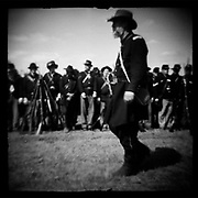 """Union colonel inspecting his troops before battle at Perryville Battle reenactment, 2002. dnads """"Charge to Battle"""""""