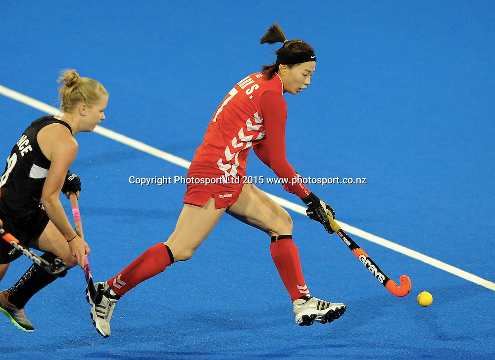 Koreas Seunga Park makes a break in the Festival of Hockey, New Zealand Womens Black Sticks v Korea, Unison Sports Park, Hastings, Saturday, April 118 2015. Photo: Kerry Marshall / photosport.co.nz