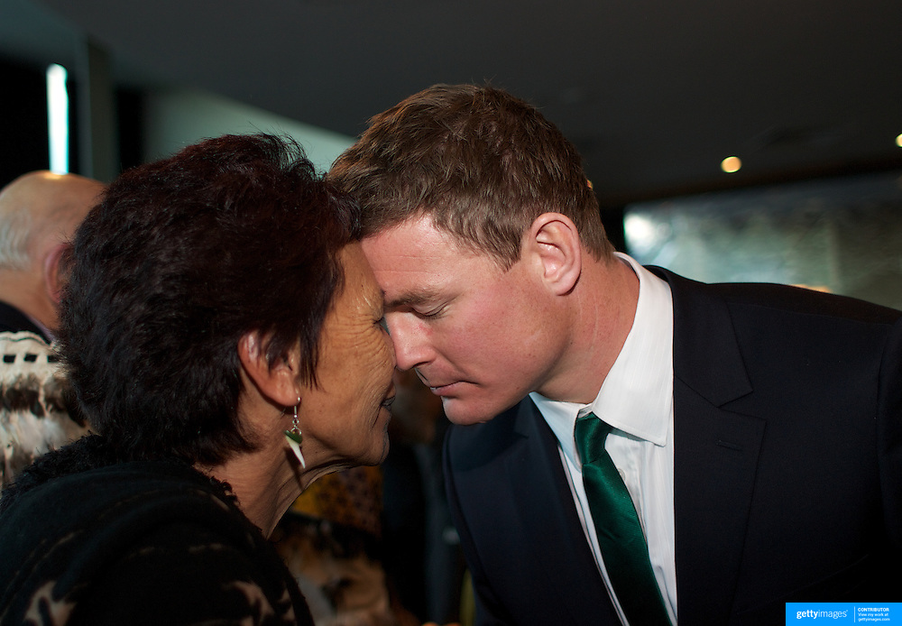 """Brian O""""Driscoll receives a traditional Maori welcome from Hana Morgan during the  Civic welcome for the Irish team at Skyline.  Queenstown, New Zealand, 4th September 2011. Photo Tim Clayton.."""