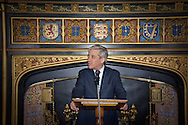 Rt. Hon John Bercow MP, Speaker of the House of Commons, in the UK Parliament, speaking in his Chamber during the launch of a new guide book celebrating Elizabeth Tower and Big Ben.