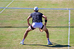 LIVERPOOL, ENGLAND - Sunday, June 18, 2017: Robert Kendrick (USA) during Day Four of the Liverpool Hope University International Tennis Tournament 2017 at the Liverpool Cricket Club. (Pic by David Rawcliffe/Propaganda)