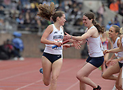 Apr 27, 2018; Philadelphia, PA, USA; Nicole Hutcionson (left)celebrates with Kelsey Margey after running the anchor leg on the Villanova women's 4 x 1,500m relay that won the Championship of America race in 17:35.48 during the 124th Penn Relays at Franklin Field.