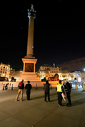 UK ENGLAND LONDON 18APR16 - Two Greenpeace activists climb Nelson's Column at 4am to demand action on air pollution. Alison Garrigan (29) and Luke Jones (30) fit the statue of Admiral Lord Nelson, towering 52 metres above Trafalgar Square, with an emergency face mask. <br /> <br /> <br /> <br /> jre/Photo by Jiri Rezac<br /> <br /> / Greenpeace<br /> <br /> © Jiri Rezac 2016