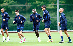 14.09.2010, Trainingsplatz Arsenal, London, ENG, PL, Arsenal Training, im Bild Left to Right Arsenal's Gael Clichy ,Arsenal's Samir Nasri,Arsenal's Bacary Sagna,Arsenal's Marouane Chamakh  and Kieran Gibbs.. EXPA Pictures © 2010, PhotoCredit: EXPA/ IPS/ Kieran Galvin +++++ ATTENTION - OUT OF ENGLAND/UK +++++ / SPORTIDA PHOTO AGENCY