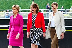 © Licensed to London News Pictures. 23/05/2016. London, UK. Scottish First Minister and Leader of the SNP Nicola Sturgeon, Caroline Lucas MP for The Green Party and Plaid Cymru leader Leanne Wood arriving at Emmeline Pankhurst memorial statue for a photocall in Victoria Tower Gardens, London on Monday, 23 May 2016 as they make the progressive case in favour of a Remain vote in next month's EU Referendum. Photo credit: Tolga Akmen/LNP