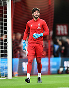 Alisson Becker (1) of Liverpool during the warm up ahead of the Premier League match between Bournemouth and Liverpool at the Vitality Stadium, Bournemouth, England on 7 December 2019.