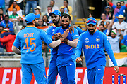 Wicket - Mohammed Shami of India celebrates taking the wicket of Tamim Iqbal of Bangladesh during the ICC Cricket World Cup 2019 match between Bangladesh and India at Edgbaston, Birmingham, United Kingdom on 2 July 2019.
