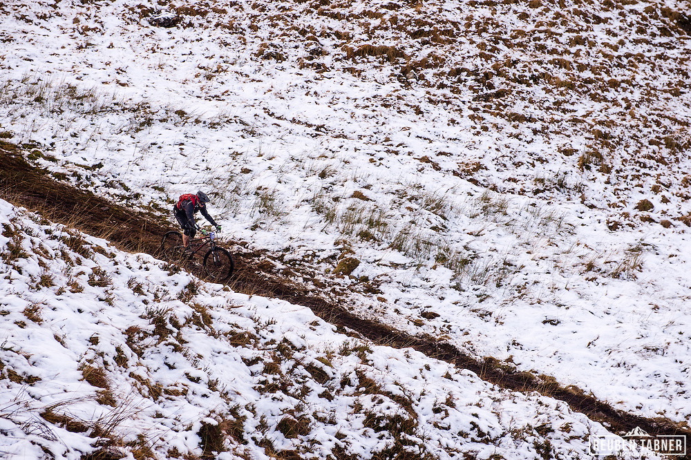 John Bryan-merrett cuts through the snow on stage one of the Kinlochleven Enduro.