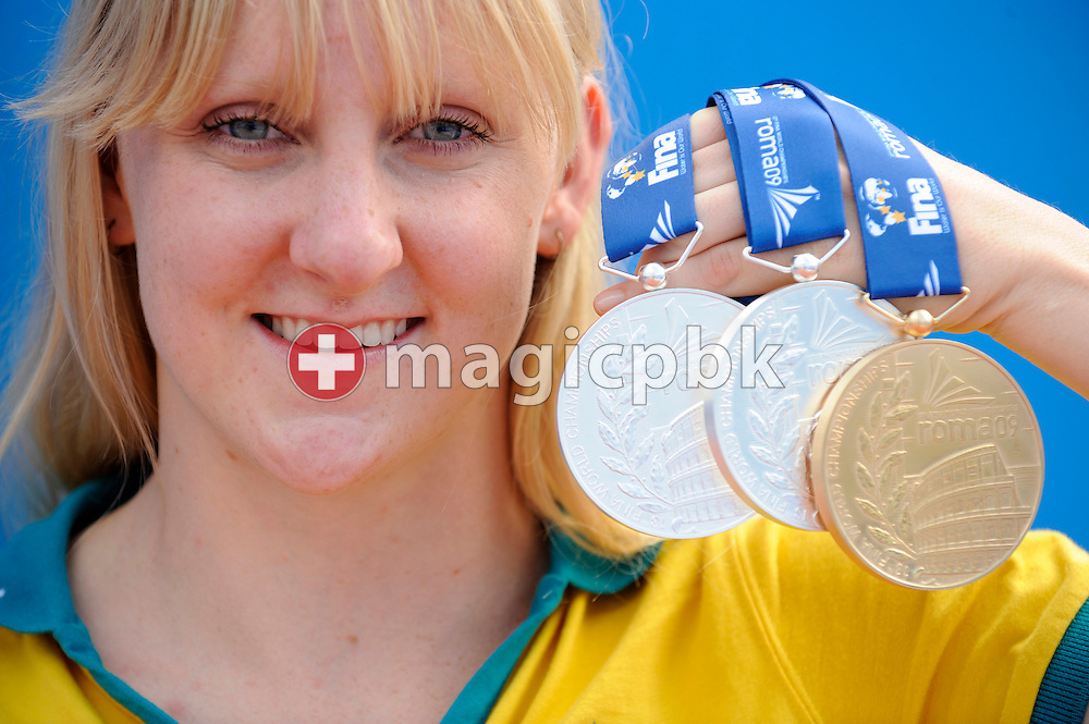 Jessicah SCHIPPER of Australia poses with her medals at the 13th FINA World Championships at the Foro Italico complex in Rome, Italy, Sunday, Aug. 2, 2009. SCHIPPER won the women's 200m butterfly and finished second in the 100m butterfly and the 4x100m medley relay. (Photo by Patrick B. Kraemer / MAGICPBK)