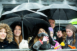 Supporters in rain during the 2nd Run of 7th Ladies' Slalom at 51st Golden Fox of Audi FIS Ski World Cup 2014/15, on February 22, 2015 in Pohorje, Maribor, Slovenia. Photo by Vid Ponikvar / Sportida