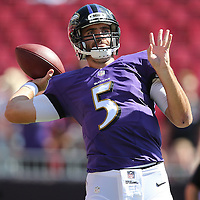 TAMPA, FL - OCTOBER 12:  Quarterback Joe Flacco #5 of the Baltimore Ravens is seen during warmups of an NFL football game at Raymond James Stadium on October 12, 2014 in Tampa, Florida. (Photo by Alex Menendez/Getty Images) *** Local Caption ***Joe Flacco