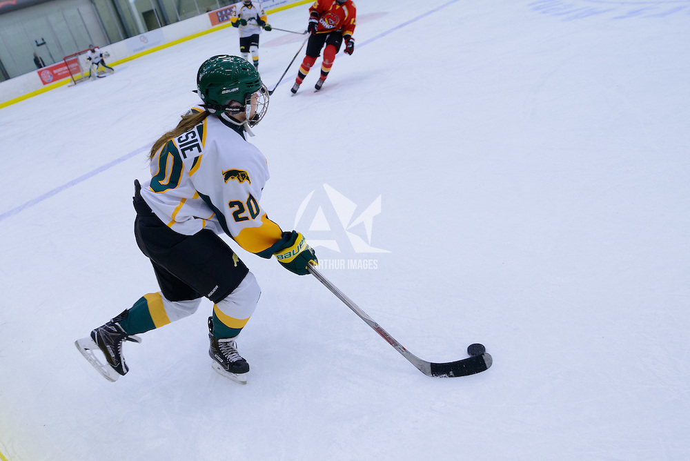 1st year defender Mariah McKersie (20) of the Regina Cougars in action during the Women's Hockey Home Game on November 26 at Co-operators arena. Credit: Arthur Ward/Arthur Images