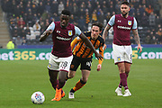 Aston Villa defender Axel Tuanzebe (28) attacking  during the EFL Sky Bet Championship match between Hull City and Aston Villa at the KCOM Stadium, Kingston upon Hull, England on 31 March 2018. Picture by Mick Atkins.