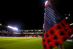 Special corner flags to mark Armistice Day are put out at Sheffield United's Bramall Lane ahead of the Sky Bet Championship fixture against Sheffield Wednesday - Mandatory by-line: Robbie Stephenson/JMP - 09/11/2018 - FOOTBALL - Bramall Lane - Sheffield, England - Sheffield United v Sheffield Wednesday - Sky Bet Championship
