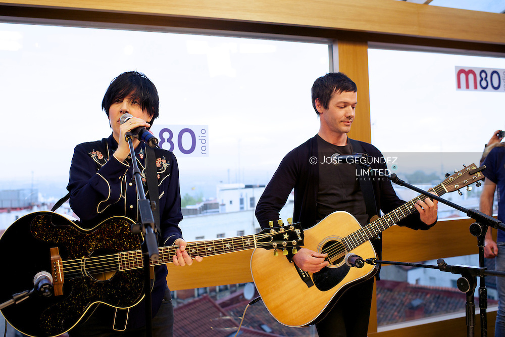 Sharleen Spiteri and Tony McGovern of Texas perform an accoustic set live for M80 Radio Station at Mercure Hotel on April 29, 2013 in Madrid