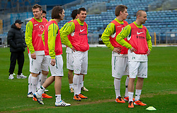 Matej Mavric, Marko Suler, Andraz Kirm, Valter Birsa and Miso Brecko during practice session of Slovenia National football team One day before EURO 2012 Quaifications game between National teams of Slovenia and Northern Ireland, on March 28, 2011, in Windsor Park Stadium, Belfast, Northern Ireland, United Kingdom. (Photo by Vid Ponikvar / Sportida)
