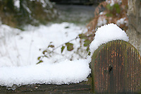 Snow on wooden gate, Wicklow, Ireland