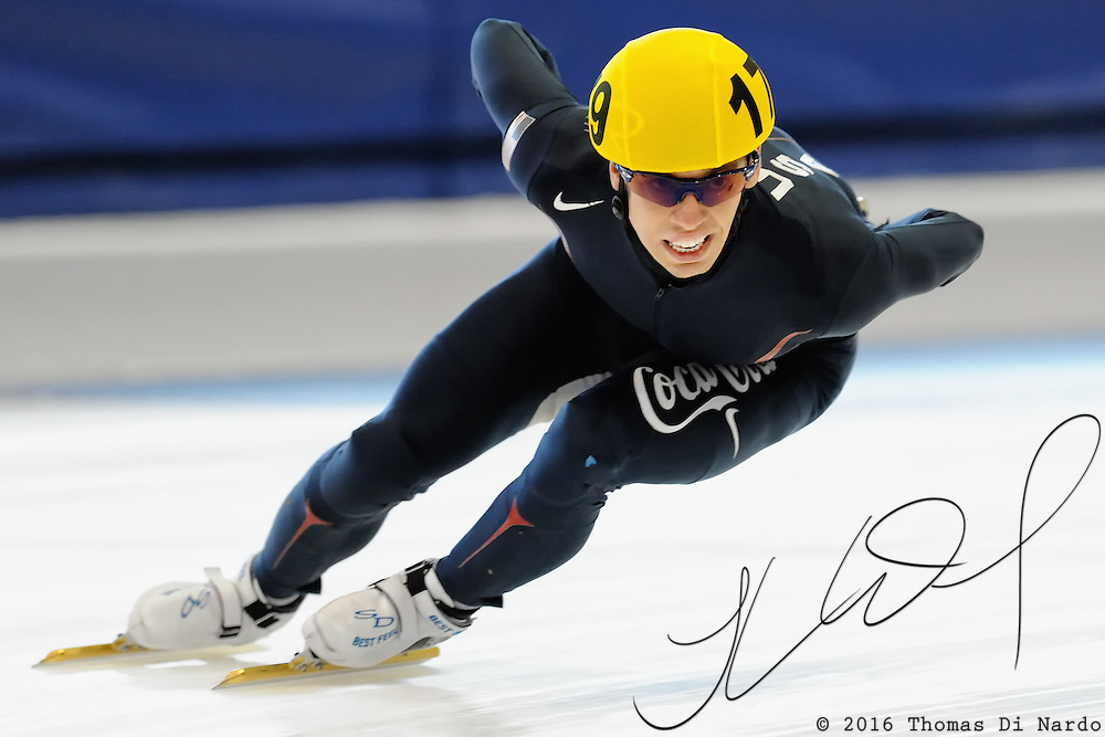 Jordan Malone competes in four lap time trials during the 2009 Desert Classic Short Track event at the Utah Olympic Oval in Salt Lake City, Utah.
