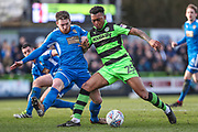 Forest Green Rovers Tahvon Campbell(25) under pressure from Notts County Matt Tootle(2) during the EFL Sky Bet League 2 match between Forest Green Rovers and Notts County at the New Lawn, Forest Green, United Kingdom on 10 March 2018. Picture by Shane Healey.