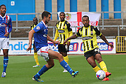 Ashley Hemmings on the attack during the Sky Bet League 2 match between Carlisle United and Dagenham and Redbridge at Brunton Park, Carlisle, England on 12 September 2015. Photo by Craig McAllister.
