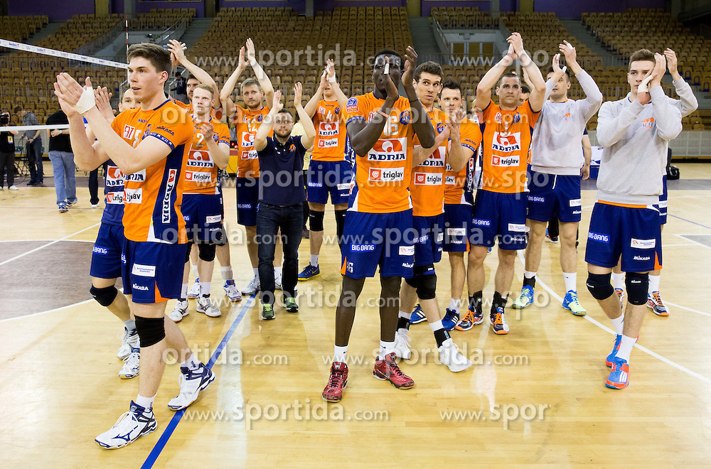 Players of ACH celebrate after winning during volleyball match between ACH Volley and Calcit Volleyball in Round #1 of Finals of 1. DOL Slovenian Championship 2014/15, on April 12, 2015 in Arena Tivoli, Ljubljana, Slovenia. Photo by Vid Ponikvar / Sportida