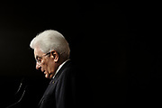 Italian President Sergio Mattarella talks to the press after that Italy's designated Prime Minister Giuseppe Conte returned the mandate to form a new government, on May 27, 2018 in Rome, Italy.  Matteo Minnella / OneShot<br /> <br /> Il Presidente della Repubblica, Sergio Mattarella, al termine delle consultazioni con il Presidente incaricato che ha rimesso il mandato di formare il Governo. Roma 27 Maggio 2018. Matteo Minnella / OneShot