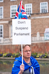 """© Licensed to London News Pictures. 03/09/2019. Bristol, UK. A protest rally on Bristol's College Green against Prime Minister Boris Johnson's """"Coup"""" and the proroguing of Parlimant and against a Conservative no deal Brexit. Photo credit: Simon Chapman/LNP."""
