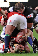 Paul O'Connell (Captain) of the Lions securing the ball.<br /> Rugby - 090610 - British&Irish Lions v Sharks - ABSA Stadium - Durban - South Africa. The Lions won 37 -3.<br /> Photographer : Anton de Villiers / SASPA