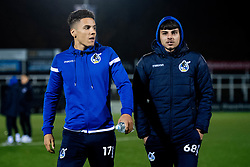 Tyler Smith of Bristol Rovers and Lucas Tomlinson arrives at Hayes Lane prior to kick off - Mandatory by-line: Ryan Hiscott/JMP - 19/11/2019 - FOOTBALL - Hayes Lane - Bromley, England - Bromley v Bristol Rovers - Emirates FA Cup first round replay