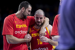 September 17, 2018 - Madrid, Spain - Pablo Aguilar and Joaquin Colom of Spain during the FIBA Basketball World Cup Qualifier match Spain against Latvia at Wizink Center in Madrid, Spain. September 17, 2018. (Credit Image: © Coolmedia/NurPhoto/ZUMA Press)