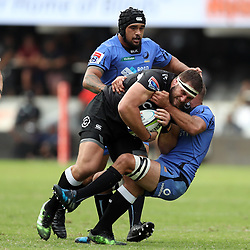 Matt Hodgson (captain) of Western Force looks to tackle Thomas du Toit of the Cell C Sharks during the Super Rugby match between the Cell C Sharks and the Western Force at Growthpoint Kings Park on May 06, 2017 in Durban, South Africa. (Photo by Steve Haag)