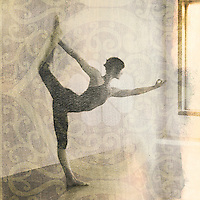 Woman in yoga pose Natarajasana or dancer's pose. Scan of alternative fine art photography print.