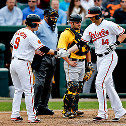 Mar 1, 2013; Sarasota, FL, USA; Baltimore Orioles left fielder Nolan Reimold (14) hits a two run homerun scoring Nate McLouth during the bottom of the second inning of a spring training game against the Pittsburgh Pirates at Ed Smith Stadium. Mandatory Credit: Derick E. Hingle-USA TODAY Sports