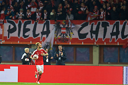 VIENNA, AUSTRIA - Thursday, October 6, 2016: Austria's Marko Arnautovic celebrates scoring the second equalising goal during the 2018 FIFA World Cup Qualifying Group D match at the Ernst-Happel-Stadion. (Pic by David Rawcliffe/Propaganda)