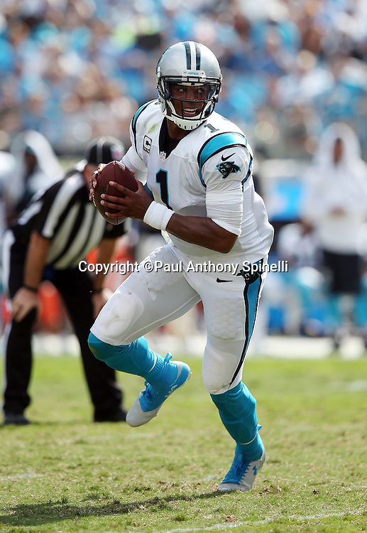 Carolina Panthers quarterback Cam Newton (1) scrambles as he looks to throw a pass during the 2015 NFL week 2 regular season football game against the Houston Texans on Sunday, Sept. 20, 2015 in Charlotte, N.C. The Panthers won the game 24-17. (©Paul Anthony Spinelli)