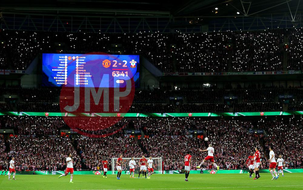 Southampton fans light up the stadium  - Mandatory by-line: Matt McNulty/JMP - 26/02/2017 - FOOTBALL - Wembley Stadium - London, England - Manchester United v Southampton - EFL Cup Final